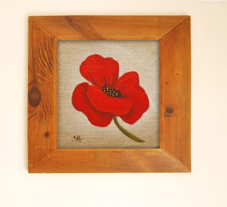 motif sur toile de lin 39 coquelicot 39 peinture originale sur toile de lin pi ce pour cr ation. Black Bedroom Furniture Sets. Home Design Ideas