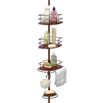 Tension Pole Shower Corner Caddy in Teak/Oil Rubbed Bronze - BedBathandBeyond.com