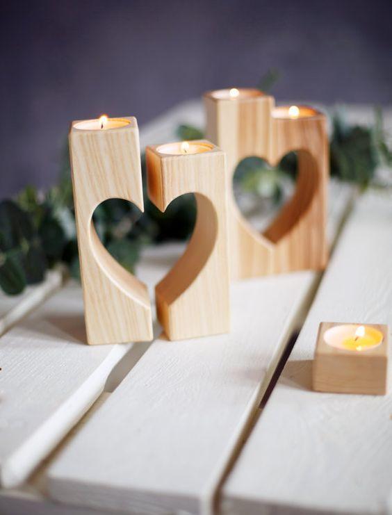 Kerzenhalter Herz Valentinstag Geschenk Kerze Halter rustikale Kerze Halter Hochzeit Geschenk personalisierte Hochzeit Dekorationen Kerzenständer aus Holz
