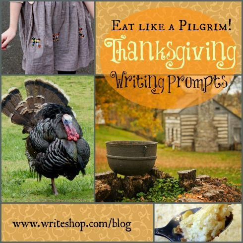These Thanksgiving writing prompts encourage kids to imagine life in the Plymouth colony while journaling about Pilgrim foods like corn and venison.