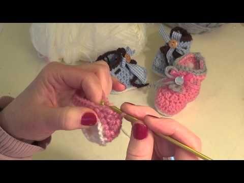 ΑΥΤΑ!!!!!!!!!    Πλεκτά βρεφικά μποτάκια , εύκολα με βελονάκι! - YouTube