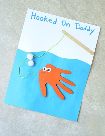 Hooked on Daddy Fish Handprint Card. This is too cute for Father's Day! via @bestideaskids