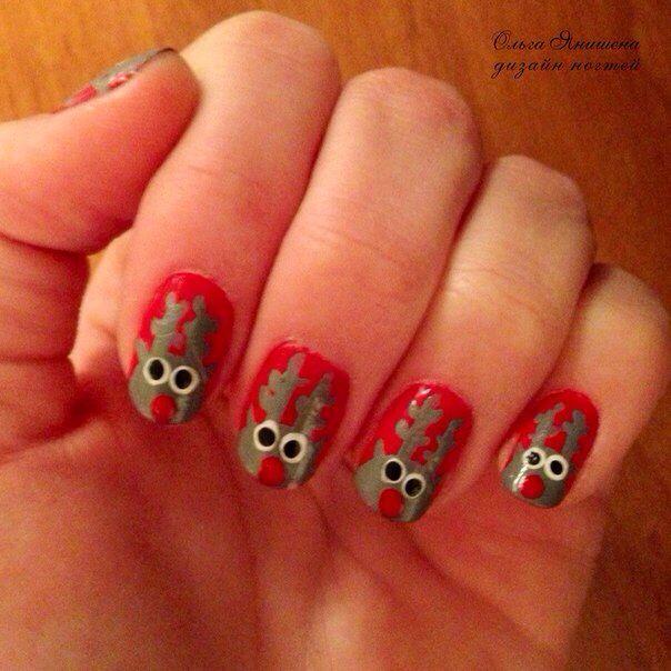 Оленья братва ;) #nail #nails #ногти #маникюр #рисунок #олени #олень #снег #зима #nailart #art #naildesign #design #nailstyle #style #deer #winter #snow