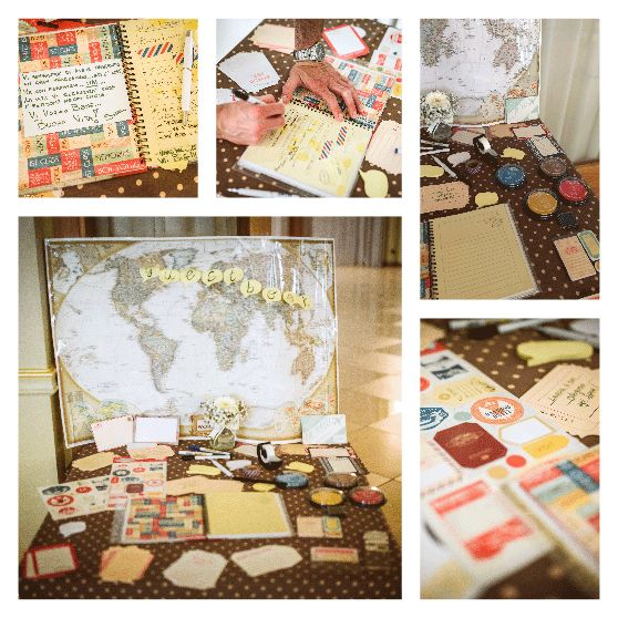 Travel Inspired Wedding guestbook with postcards, stickers and stamps.