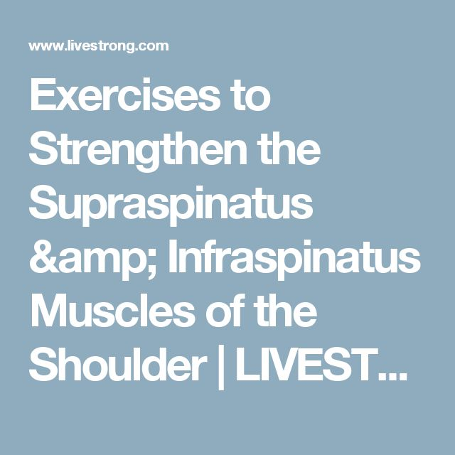 Exercises to Strengthen the Supraspinatus & Infraspinatus Muscles of the Shoulder | LIVESTRONG.COM