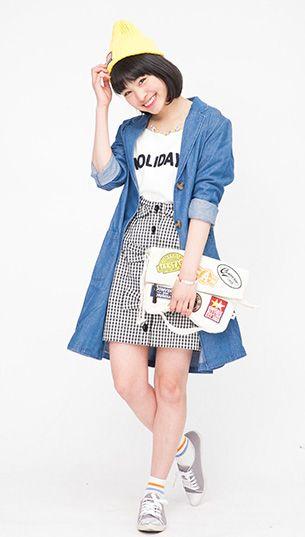 デニムアウターにギンガムチェックのリボン付きスカートが可愛い♡ ◇中学生ファッション スタイルの参考コーデ◇