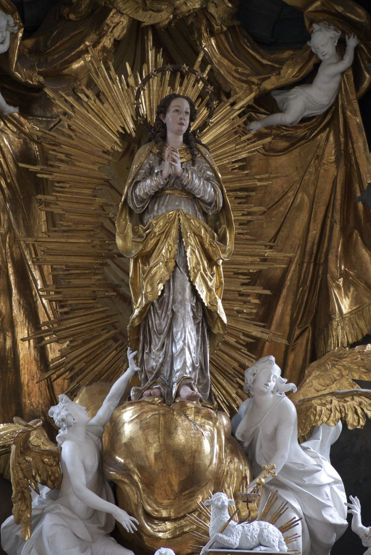 """signorcasaubon:  """"Detail: The image of the Assumption of the Blessed Virgin Mary, from the High Altar of the Church of the Assumption (Maria Himmelfahrt), Schongau, Bavaria, Germany.  """""""