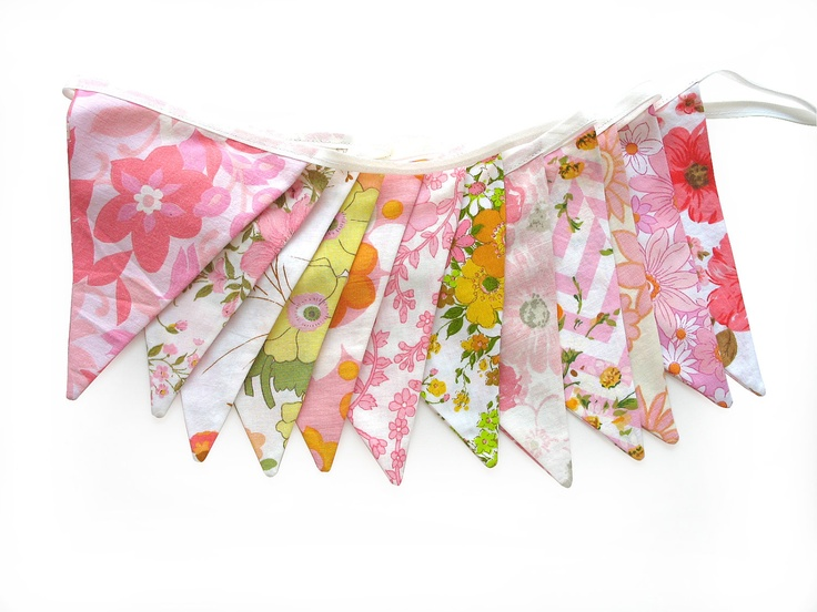 Vintage Retro Pink / Orange , Floral Flag Bunting. Shabby Chic, Party Decoration  Wall hanging, Parties, Party, Wedding etc. $29.95, via Etsy.