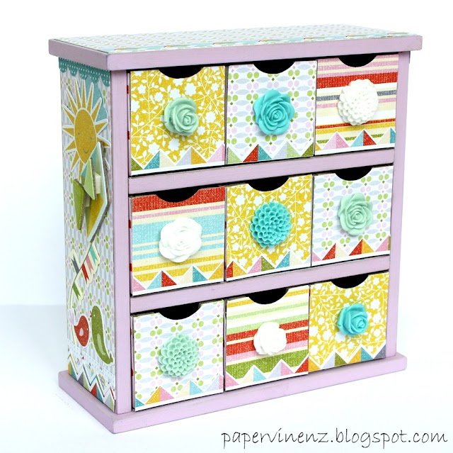 lovely tiny chest of drawers - I actually have a really ugly set of drawers like these that could use a similar facelift for my little one's room.