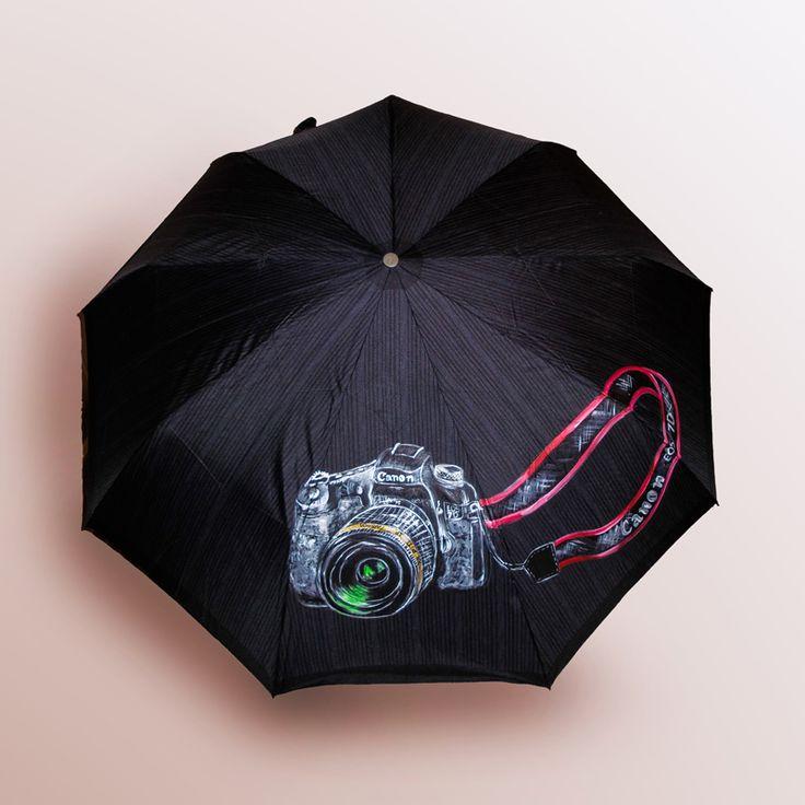 Зонт Фотограф (фотоаппарат Сanon) купить в Санкт-Петербурге #зонт #зонтик #umbrella #parasol #design #спб #россия #роспись #хендмейд #handmade #рисунок #drawing #draw #style #styling #складной #дизайнерский #заказ #крутой #черный #дождь #прикольный #подарок