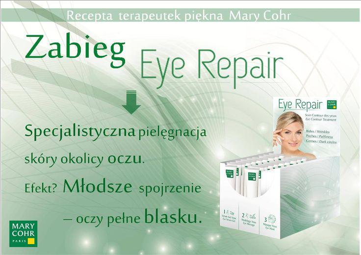 Najlepsza recepta na odmłodzenie i odświeżenie okolicy oczu - 40 minutowy zabieg Eye Repair. Zredukuje zmarszczki, cienie wokół oczu oraz opuchliznę górnej i dolnej powieki.