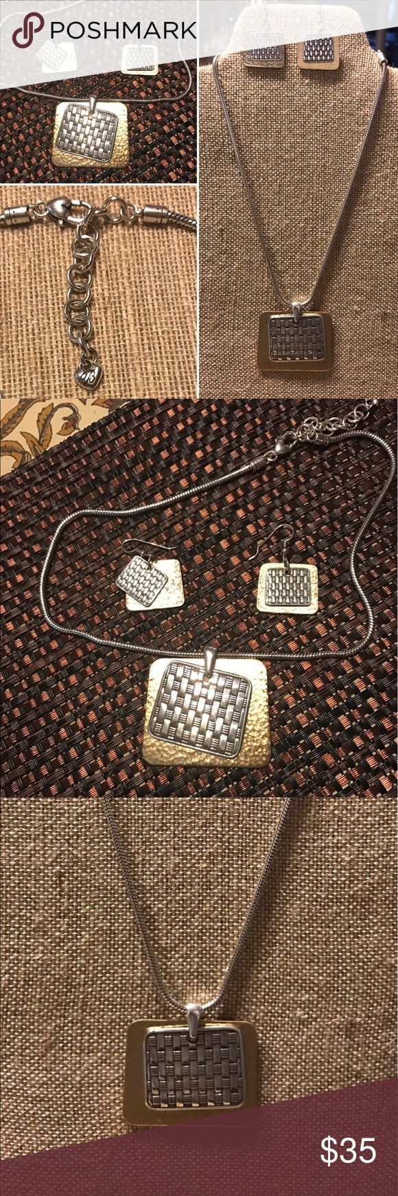 Brighton Set Brighton Jewelry.  Geometric Two tone earring and necklace set. Textured silver tone basket weave square and contrast hammered gold tone square. Brighton Jewelry Necklaces
