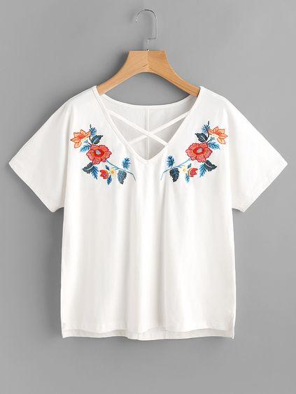 Crisscross Neck Symmetric Embroidery Stepped Hem Tee