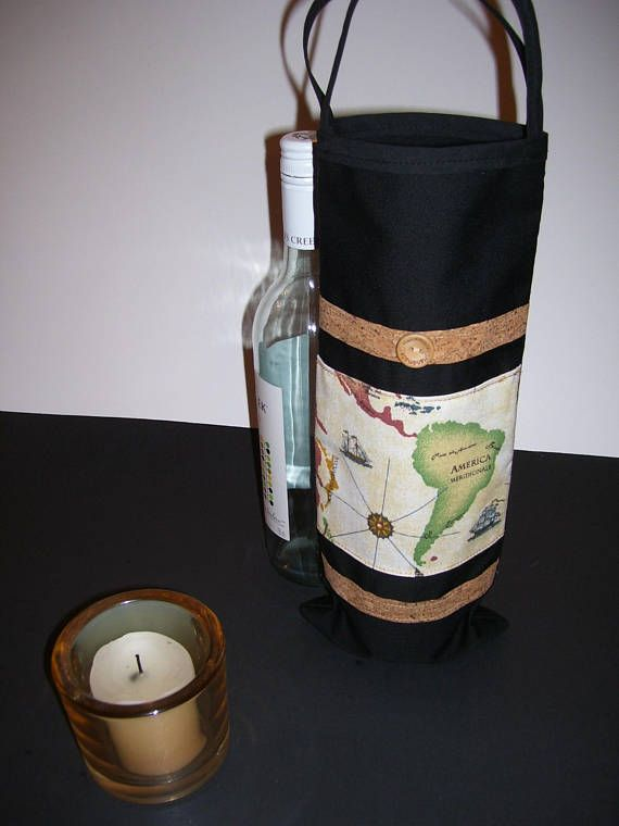 WINE GIFT BAG  map wine gift bag  map wine bag  map wine
