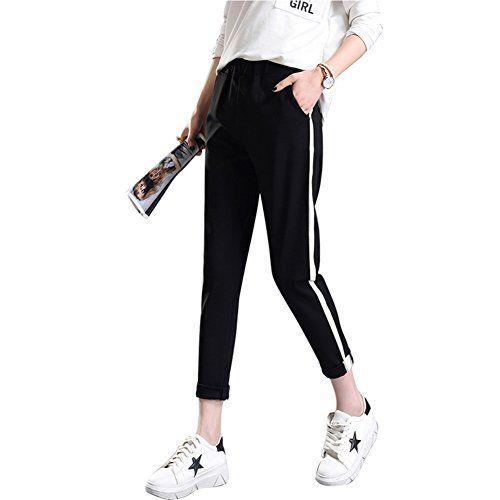 nice Frauen-Freizeithosen Sporthose – Lässige Hose mit hoher Taille Sweatpants für Tanz Hip Hop Jogger Sport XS-XL
