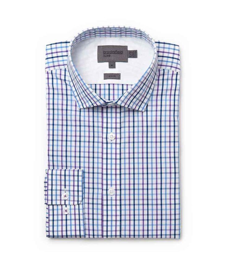 Brooksfield Online Shop: tattersal check shirt - bfc964 purple