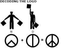 "Decoding the peace logo... February 21, 1958 - Peace Symbol, London (England). Designed by Gerald Holtom [1914-1985] who combined semaphore signals for ""N"" and ""D"" (Nuclear Disarmament). Used by the Direct Action Committee Against Nuclear War (DAC) during its April 4 march from London to Aldermaston. Adopted as its badge by the Campaign for Nuclear Disarmament (CND) in Britain. Now used worldwide."