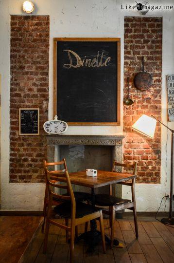 """Dinette è un ristorante di Milano che ha fatto della condivisione una filosofia. Qui, fra le altre cose, si servono le mezze porzioni, per scambiare con il vicino di posto le pietanze, assaggiando così """"un po' di tutto""""."""