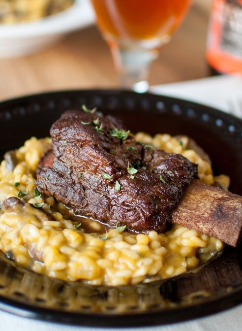 PUMPKIN & PUMPKIN BEER RISOTTO with GINGER COFFEE CHOCOLATE STOUT-GLAZED SHORT RIB [thedevilwearsparsley]