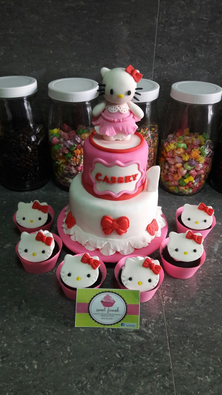 Hello Kitty Cake and Cupcakes  #HelloKitty #Cake #Cupcakes #SweetFionah