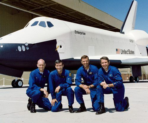 Flying Enterprise for her test flights were (from left) Gordon Fullerton, Fred Haise, Joe Engle and Dick Truly. Photo Credit: NASA