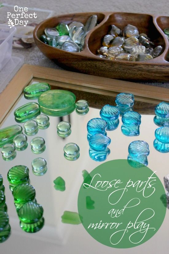 Reggio inspired mirrors and loose parts and the benefits of playing with loose parts.