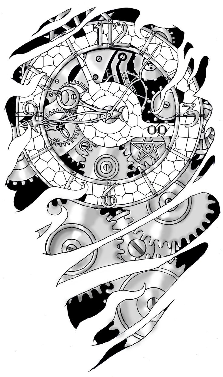 Tattoo gear tattoo sleeve mechanic tattoo mechanical tattoo gears - One Of My First Digital Works It Took Me Ages It Was Made As A Tattoo Template For Myself Gears And Clockwork