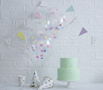 These fun and bright confetti filled balloons are a great way to add fun and colour to your celebration.