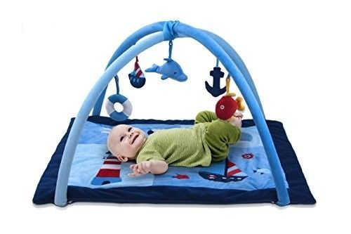 Baby Activity Play Mat Gym Blue Soft Hanging Toys Foam Plush Colorful Shapes #LilJumbl