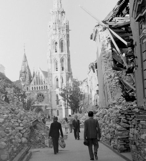 Holy Trinity Square and the Matthias Church In the Buda Castle, Budapest, 1945