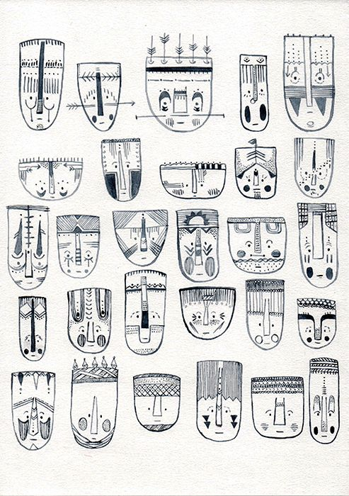 #Mask #Africa #illustration #draw #drawing #face #fineline #artist