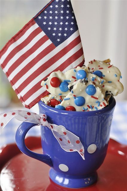 red white and blue cookie bark