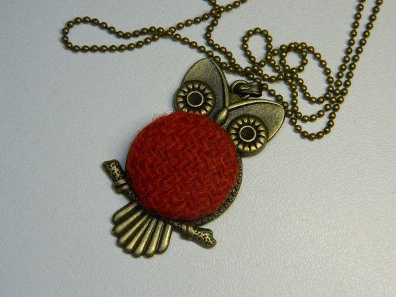 Terrakotta Fabric Button Owl Pendant Girlfriend by LittleRubyAtom