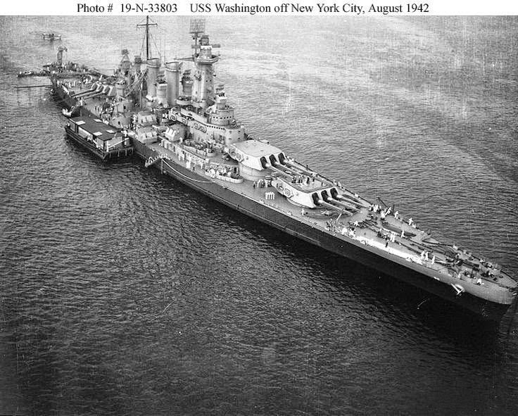 Battleship USS Washington (BB-56) off New York City ...