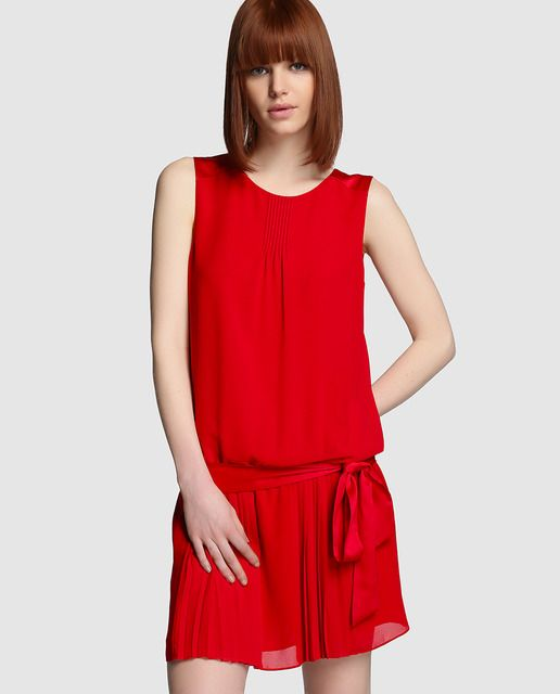 Vestido de mujer Tintoretto rojo con falda plisada