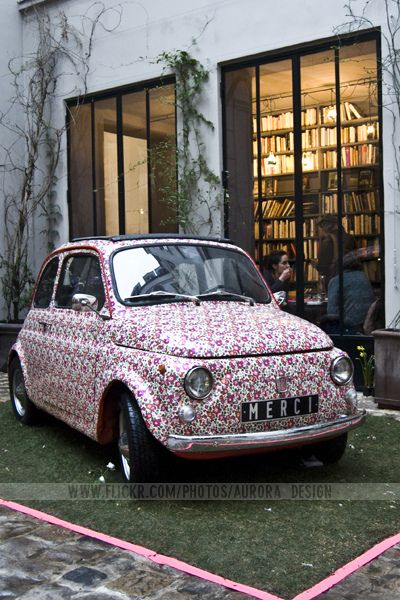 Merci car with Liberty of London print in Paris