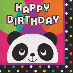 Panda Birthday Lunch Napkins - 16 Pk