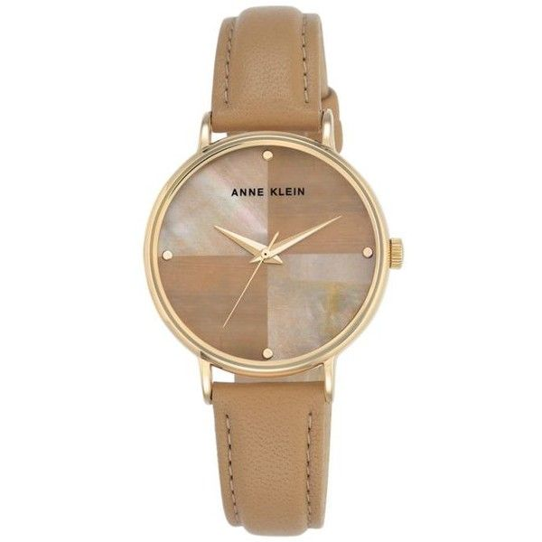 Anne Klein  Women's Pearl And Brown Leather Strap Watch ($48) ❤ liked on Polyvore featuring jewelry, watches, brown, brown jewelry, anne klein watches, brown watches, pearl watches and pearl jewelry