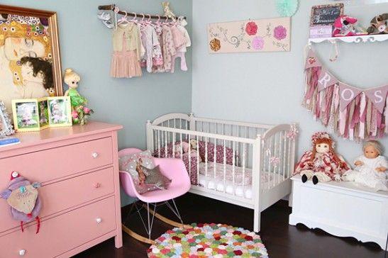 chambre rose et grise vintage