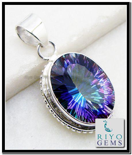 Mystic Quartz Silver Pendant Riyo Gems www.riyogems.com
