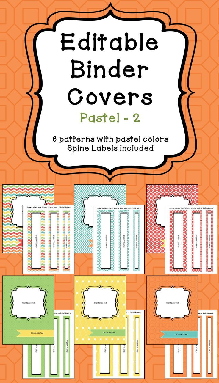 """Organize your classroom with these 6 different designs of editable binder covers. Each cover comes with matching spine labels for 3"""", 2"""" and 1.5"""" binders.  To edit the binder covers and spine labels, simply click where it says """"click to add text."""" You can edit the text size, text color, and location of each text box."""