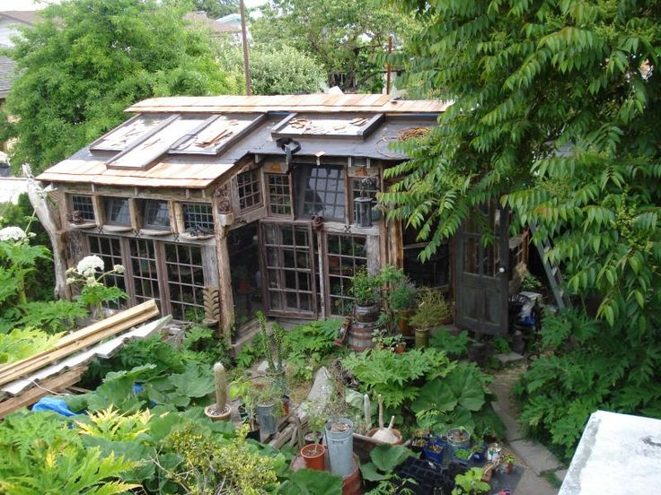 Rustic Greenhouse with old windows