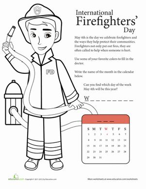 Spring First Grade Community & Cultures Worksheets: National Firefighters' Day