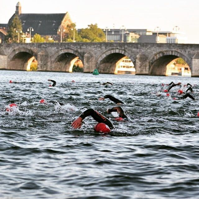 You cannot escape Ironman in Maastricht today... At 7 this morning the triathlon started with a swim in the Maas . Now the iron men and women(!) are on their bikes looking forward to their marathon to round it all up....  Respect - #Mtricht