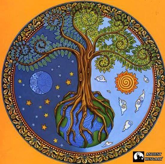 A magyar ősvallás világfája  A világfa a közép-ázsiai lovasnépek ősvallásának legalapvetőbb rendszerezési formája, ugyanúgy kifejezi az ősi hun, avar és magyar hit rendjét, mint jelképrendszerének szerkezeti felépítését.