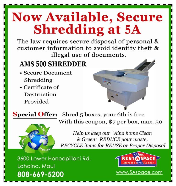 5A RentASpace Lahaina completes secure shredding for
