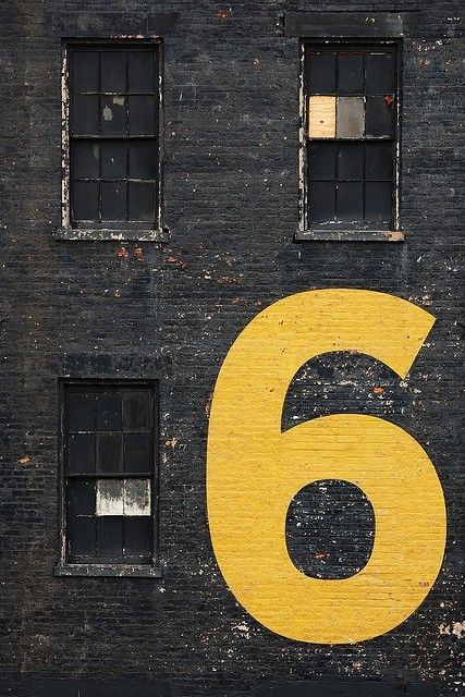 Number 6Colors, Buildings, Graphics Design, Bricks, Yellow, House Numbers, Typography, Letters, Black Wall