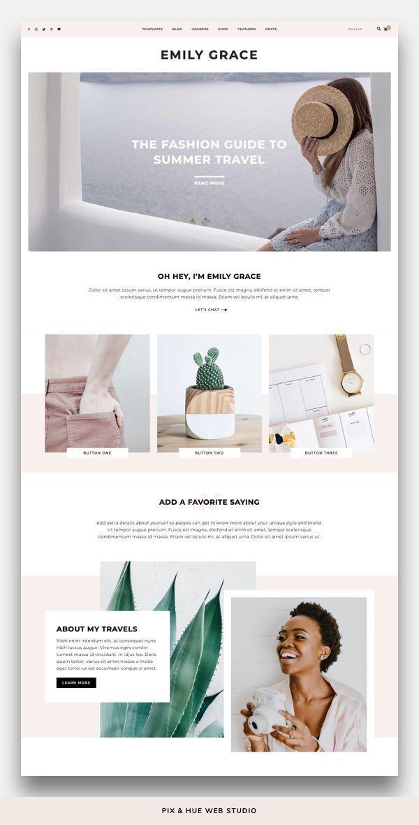 Emily Grace Wordpress Theme In 2020 Feminine Website Design Web Design Trends Simple Website Design