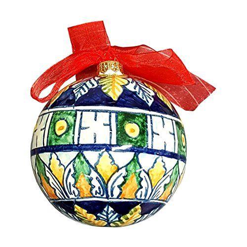 CERAMICHE D'ARTE PARRINI- künstlerische italienische Keramik , Kugel Weihnachtsbaum , Handarbeit made   in Italy Toscana