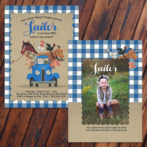 Sailor's very own custom made invited for her  Little Blue Truck Birthday Party by the lovely Megan at  KayleeBugDesign